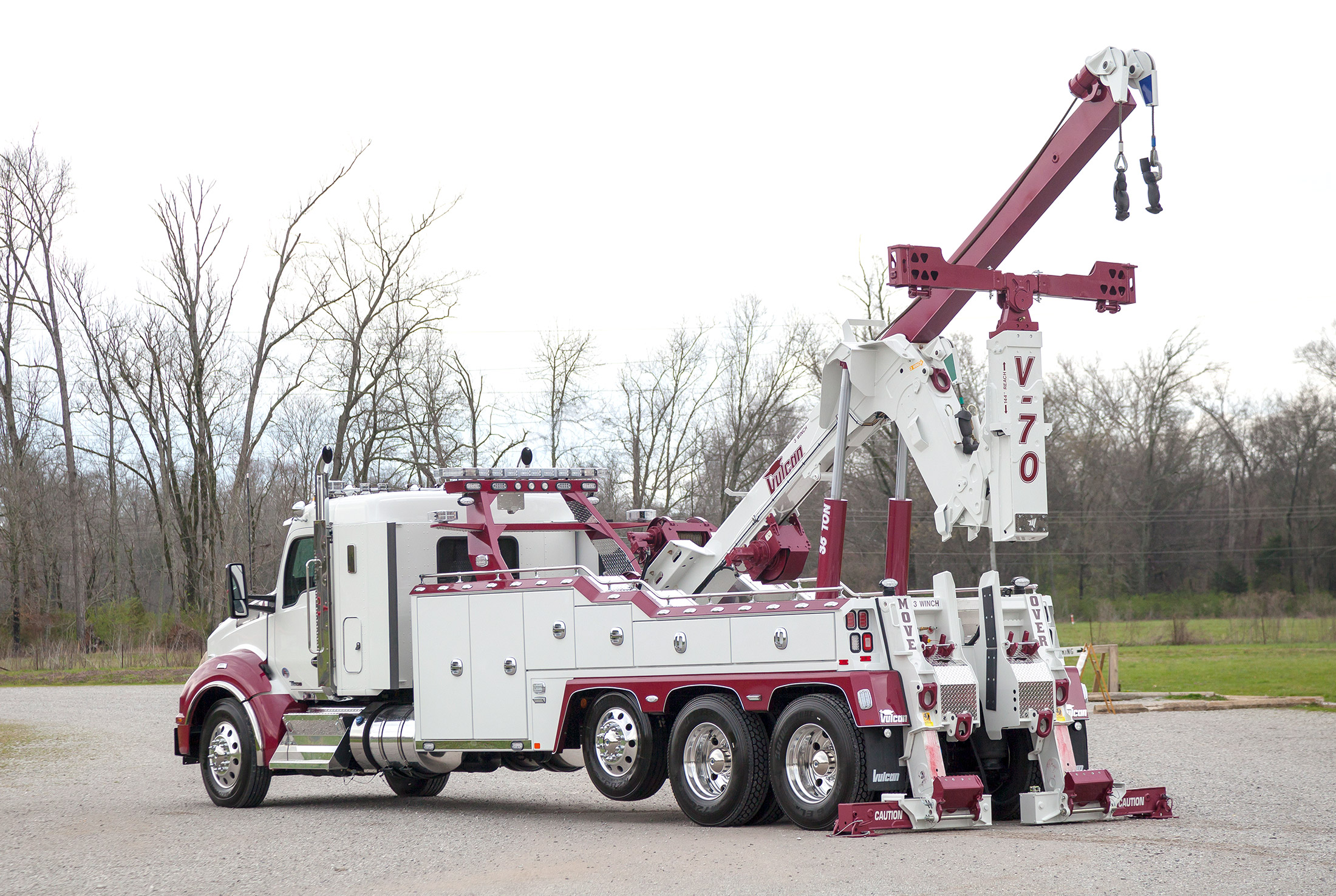 white vulcan v70 kenworth T880 stretched