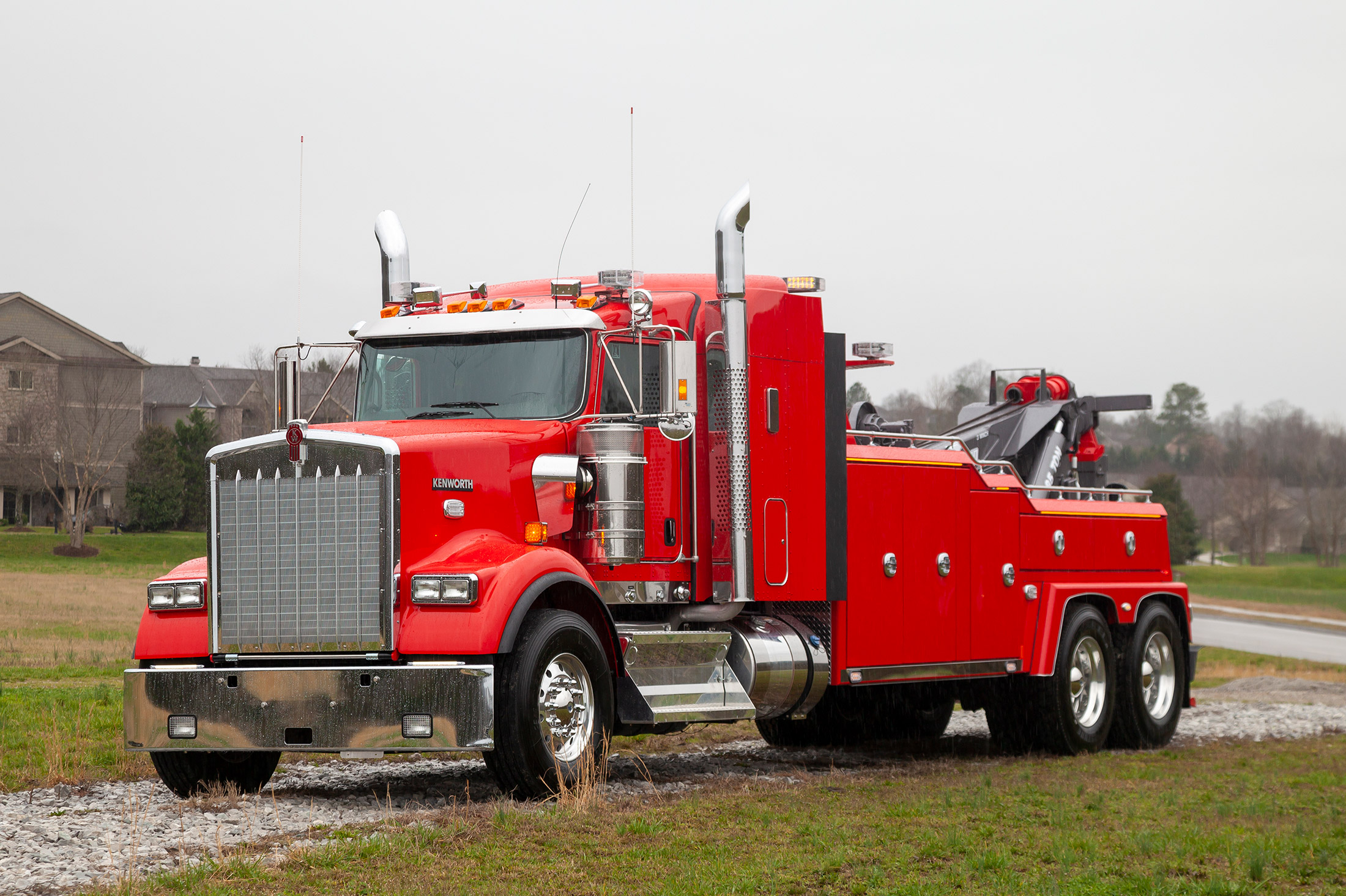 Red Vulcan V70 on a Kenworth W900 chassis